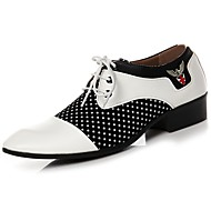 Men's Shoes Synthetic Microfiber PU PU Leatherette Spring Fall Comfort Oxfords Lace-up For Casual Black/White Black