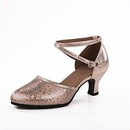 billige Sko til latindans-Dame Latin Glimtende Glitter Paljett Høye hæler Profesjonell Spenne Kubansk hæl Gull Sølv Rød Kamel 5 cm