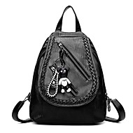 Women Bags PU Backpack Zipper for Casual All Seasons Black Red