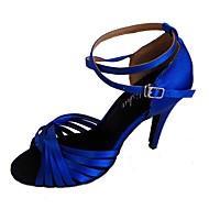 baratos Sapatilhas de Dança-Mulheres Latina Cetim Sandália Interior Salto Personalizado Fúcsia Vermelho Rosa claro Azul marinho Amêndoa