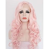 Naisten Synteettiset peruukit Lace Front Keskikokoinen Pitkä Kihara Laineikas Pinkki Cosplay-peruukki Luonnollinen peruukki Lolita Wig