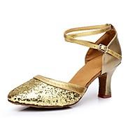 """billige Moderne sko-Dame Moderne Paljett Kustomiserte materialer Høye hæler Innendørs Kustomisert hæl Gull Sølv Rød 2 """"- 2 3/4"""" Kan spesialtilpasses"""