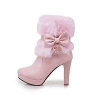 cheap -Women's Shoes Leatherette Winter Fashion Boots Boots Chunky Heel Round Toe Booties / Ankle Boots Bowknot White / Black / Pink