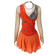 Kunstskøjtekjole Dame Pige Skøjtekjole Orange Elastin Høj Elasticitet Klassisk Ydeevne Langærmet Skøjtetøj Is Skøjtning Kunstskøjteløb