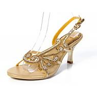 baratos Sapatos Femininos-Mulheres Sapatos Poliuretano Primavera / Verão Botas da Moda Sandálias Salto Agulha Dedo Aberto Pedrarias / Cristais / Gliter com Brilho