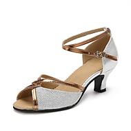 cheap Dancewear & Dance Shoes-Women's Latin Sparkling Glitter Heel Professional Sparkling Glitter Buckle Cuban Heel Gold Black Silver