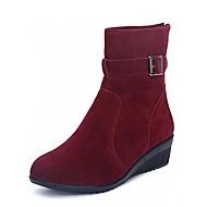baratos Sapatilhas de Dança-Mulheres Botas de Dança Pele Nobuck Salto Baixo Sapatos de Dança Preto / Vermelho