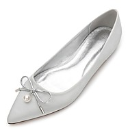 cheap Extended-Size Shoes-Women's Shoes Satin Spring Summer Comfort Wedding Shoes Pointed Toe Bowknot Pearl Imitation Pearl for Wedding Dress Party & Evening
