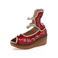 cheap Women's Sandals-Women's Shoes Canvas Spring Summer Comfort Novelty Sandals Peep Toe Buckle Flower for Dress Party & Evening Red Blue
