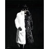 Masculino Casaco de Pêlo Festa Simples Inverno,Sólido Longo Pêlo Sintético Colarinho de Camisa Manga Longa