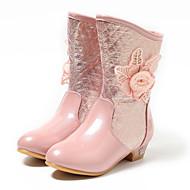 Para Meninas sapatos Couro Ecológico Inverno Botas da Moda Botas Botas Cano Médio Para Casual Prata Rosa claro