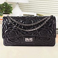 Women Bags All Seasons PU Sheepskin Shoulder Bag Zipper for Casual Black