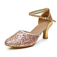 billige Moderne sko-Dame Moderne sko Paljett Høye hæler Strå Kustomisert hæl Kan spesialtilpasses Dansesko Svart / Sølv / Fuksia / Innendørs