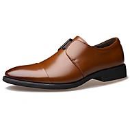 Masculino sapatos Couro Envernizado Outono Inverno Conforto Oxfords Elástico Para Casual Preto Marron
