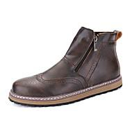 Masculino sapatos Couro Ecológico Primavera Outono Coturnos Botas Botas Cano Médio Ziper Para Casual Preto Marron Vinho