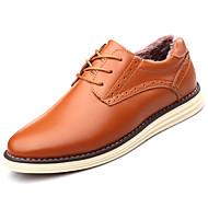 Masculino sapatos Pele Real Outono Inverno Conforto Oxfords Cadarço Para Preto Marron Castanho Claro