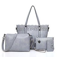 Damen Taschen PU Bag Set 3 Stück Geldbörse Set Reißverschluss für Einkauf Normal Ganzjährig Schwarz Rote Grau Braun