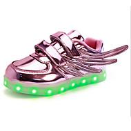 tanie Obuwie dziewczęce-Dla dziewczynek Buty PU Wiosna Jesień Świecące buty Zabawne Comfort Tenisówki LED Tasiemka na Casual Na wolnym powietrzu Gold Silver