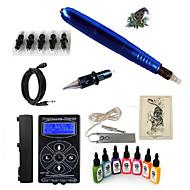 baratos Kits de Tatuagem para Iniciantes-Máquina de tatuagem Conjunto de Principiante - 1 pcs máquinas de tatuagem com 7 x 15 ml tintas de tatuagem, Profissional Fonte de