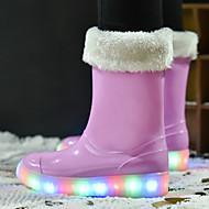 בנות נעליים גומי דמוי עור סתיו חורף מגפי שלג נעליים זוהרות נעליים מגולפות מגפיים מגפיים באורך אמצע - חצי שוק LED עבור קזו'אל שחור אדום