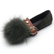 cheap Women's Flats-Women's Shoes Nubuck leather PU Suede Fall Moccasin Comfort Flats Flat Heel Round Toe Pom-pom For Casual Khaki Green Black