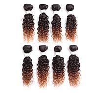Cabelo Humano Cabelo Brasileiro Âmbar Enrolado Extensões de cabelo 1 Preto Preto / louro da morango Preto / Medium Auburn Preto / Borgonha