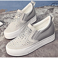 Feminino Sapatos Gliter Primavera Outono Conforto Mocassins e Slip-Ons Para Casual Branco Preto