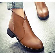 baratos -Feminino Sapatos Pele Nobuck Inverno Outono Botas da Moda Coturnos Botas Salto Robusto Botas Curtas / Ankle para Casual Preto Amarelo