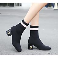 billige -Dame Sko Nubuck Skinn Høst Vinter Trendy støvler Kampstøvler Støvler Tykk hæl Kvadratisk Tå Ankelstøvler Til Avslappet Svart Rød