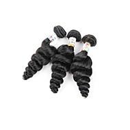 abordables -Cheveux humains Cheveux Brésiliens Bundle cheveux Ondulation Légère Extensions de cheveux 3 Pièces Noir