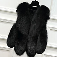 Women's Casual/Daily Simple Fall Winter Fur Coat,Solid V Neck Sleeveless Short Fox Fur