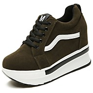 cheap Women's Sneakers-Women's Shoes Suede Fall Comfort Sneakers Round Toe Lace-up for Casual Black Army Green