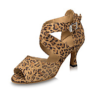 billige Sko til latindans-Dame Latin Semsket lær Høye hæler Innendørs Krystall Spenne Høy Hæl Svart Blå Leopard Kan spesialtilpasses