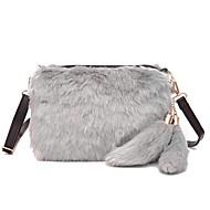 Χαμηλού Κόστους Fur Bags-Γυναικεία Τσάντες Γούνα Σταυρωτή τσάντα Φερμουάρ για Causal ΕΞΩΤΕΡΙΚΟΥ ΧΩΡΟΥ Όλες οι εποχές Γκρίζο Φούξια Καφέ Μαύρο/Άσπρο Χακί