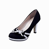 cheap Women's Heels-Women's Shoes PU Spring Fall Basic Pump Heels Cone Heel Pointed Toe Bowknot for Dress Office & Career Black Blue