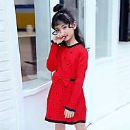 Dívka je Polyester Běžné/Denní Puntíky Zima Šaty,Dlouhý rukáv