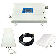 LCD Display Mobile Phone DCS W-CDMA UMTS Signal Booster 3G 2100mhz 4G 1800mhz Signal Repeater with Panel Antenna / Log Periodic Antenna / White