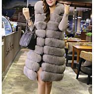 Women's Going out Casual/Daily Street chic Winter Fur Coat,Solid Hooded Long Sleeve Long Faux Fur Fox Fur