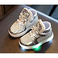 baratos Sapatos de Menina-Para Meninas sapatos Couro Ecológico Outono Inverno Conforto Tênis para Casual Dourado Prata Fúcsia Rosa claro