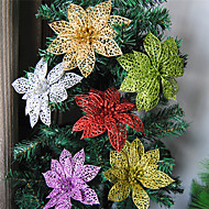 10PCS Colourful Glitter Artificial Hollow Flowers Wedding Party Christmas Decorations