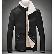 Masculino Jaquetas de Couro Para Noite Casual Moda de Rua Outono Inverno,Sólido Padrão Poliuretano Colarinho Chinês Manga Longa