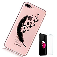 billiga Mobil cases & Skärmskydd-fodral Till Apple iPhone X iPhone 8 Plus Genomskinlig Mönster Skal Fjädrar Mjukt TPU för iPhone X iPhone 8 Plus iPhone 8 iPhone 7 Plus