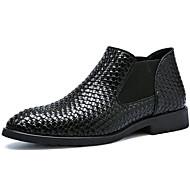 Masculino sapatos Couro Envernizado Inverno Outono Curta/Ankle Coturnos Botas Botas Curtas / Ankle para Casual Festas & Noite Preto