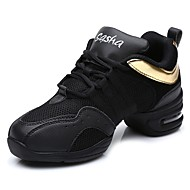 "Women's Dance Sneakers Tulle Leatherette Net Sneaker Outdoor Splicing Split Sole Black/Gold 1"" - 1 3/4"" Customizable"