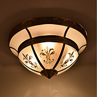 billige Taklamper-3-Light Takplafond Omgivelseslys Olje-gnidd Bronse Metall Glass Mini Stil 110-120V / 220-240V Pære ikke Inkludert / E26 / E27