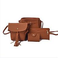 Damen Taschen PU Bag Set 4 Stück Geldbörse Set Reißverschluss für Alle Jahreszeiten Schwarz Rote Rosa Kamel Grau