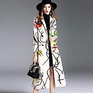Feminino Casaco Para Noite Casual Simples Moda de Rua Sofisticado Outono Inverno,Estampado Longo Lã Modal Poliéster