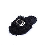 Feminino Sapatos Couro Ecológico Inverno Conforto Chinelos e flip-flops Dedo Aberto Penas Para Casual Branco Preto Rosa claro
