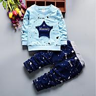 Baby Drenge Afslappet / Aktiv Geometrisk Langærmet Normal Bomuld Tøjsæt Blå