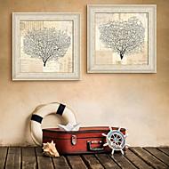 baratos -Floral/Botânico Paisagem Quadros Emoldurados Conjunto Emoldurado Arte de Parede,PVC Material com frame For Decoração para casa Arte